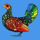 Stained Glass Chicken in Watercolor and Ink by studiogooz