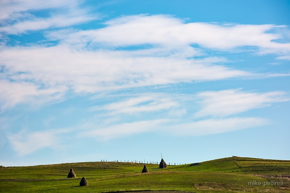 hay stacks on hillside under the beautiful sky by mike-pellinni