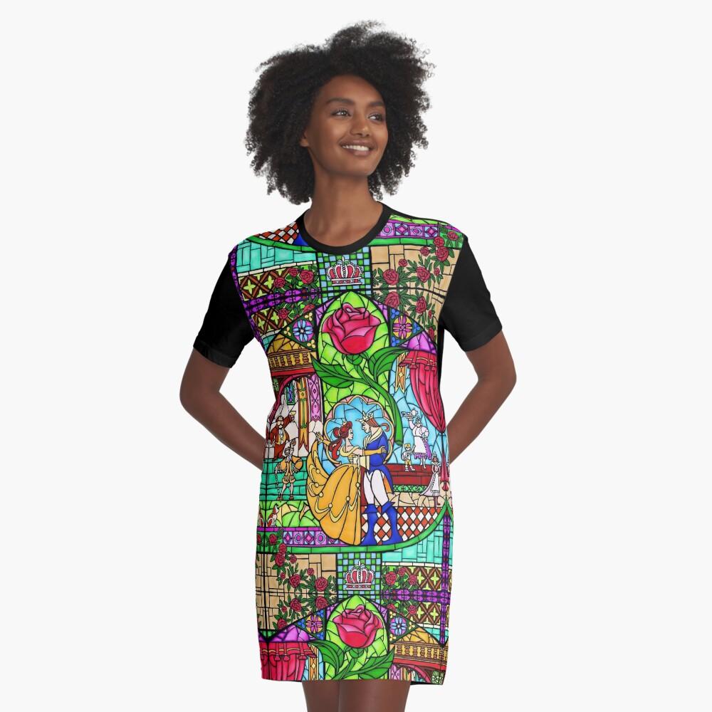 Muster des Buntglasfensters T-Shirt Kleid Vorne