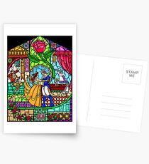 Muster des Buntglasfensters Postkarten