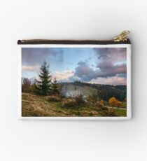 forest on hillside in stormy weather Studio Pouch