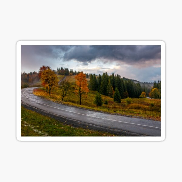 countryside road through forest in stormy weather Sticker