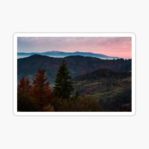 gorgeous hazy morning in mountains Sticker