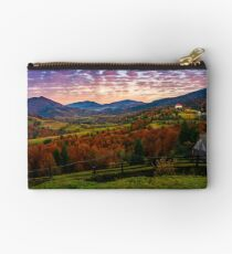 exquisite autumn sunrise in mountainous countryside Studio Pouch