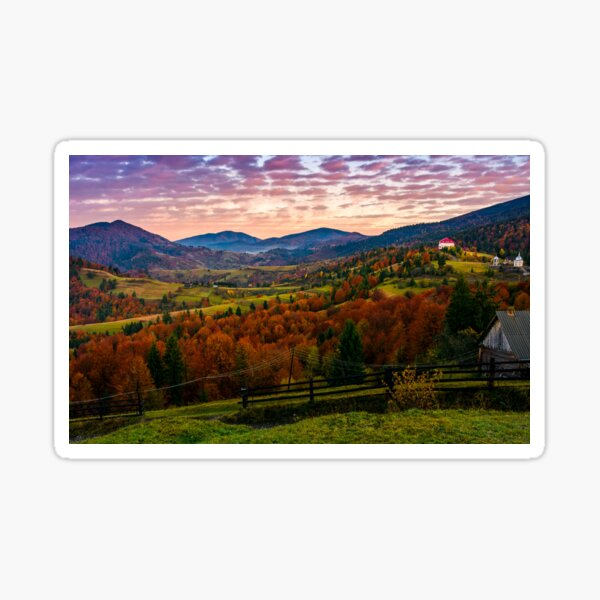exquisite autumn sunrise in mountainous countryside Sticker