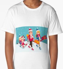 Family Snow Skiing People Isometric Long T-Shirt