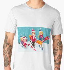 Family Snow Skiing People Isometric Men's Premium T-Shirt
