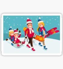 Family Snow Skiing People Isometric Sticker
