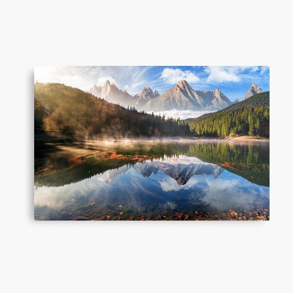 gorgeous mountain lake in autumn fog Metal Print
