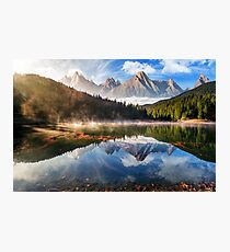 gorgeous mountain lake in autumn fog Photographic Print