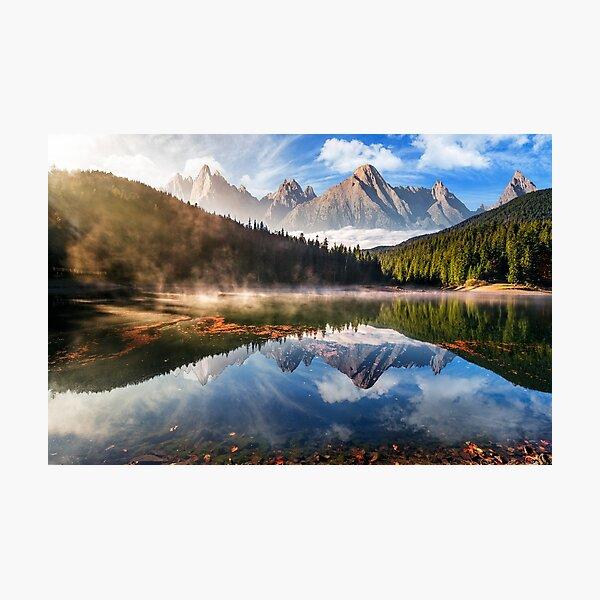 gorgeous mountain lake in autumn fog Photographic Print