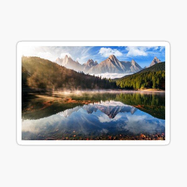 gorgeous mountain lake in autumn fog Sticker