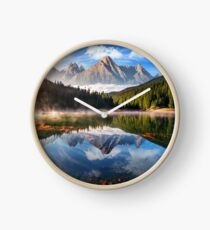gorgeous mountain lake in autumn fog Clock