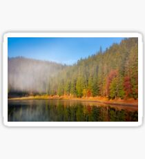 forest in autumn morning fog on the lake Sticker
