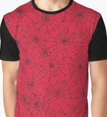 Spider Web pattern - black on Red - Spiderweb pattern by Cecca Designs Graphic T-Shirt