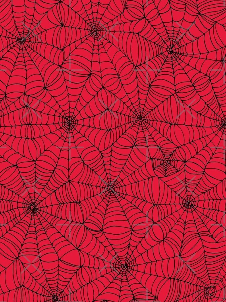 Spider Web pattern - black on Red - Spiderweb pattern by Cecca Designs by Cecca-Designs