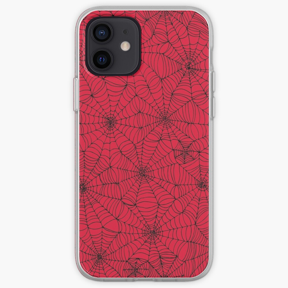 Spider Web pattern - black on Red - Spiderweb pattern by Cecca Designs iPhone Case & Cover