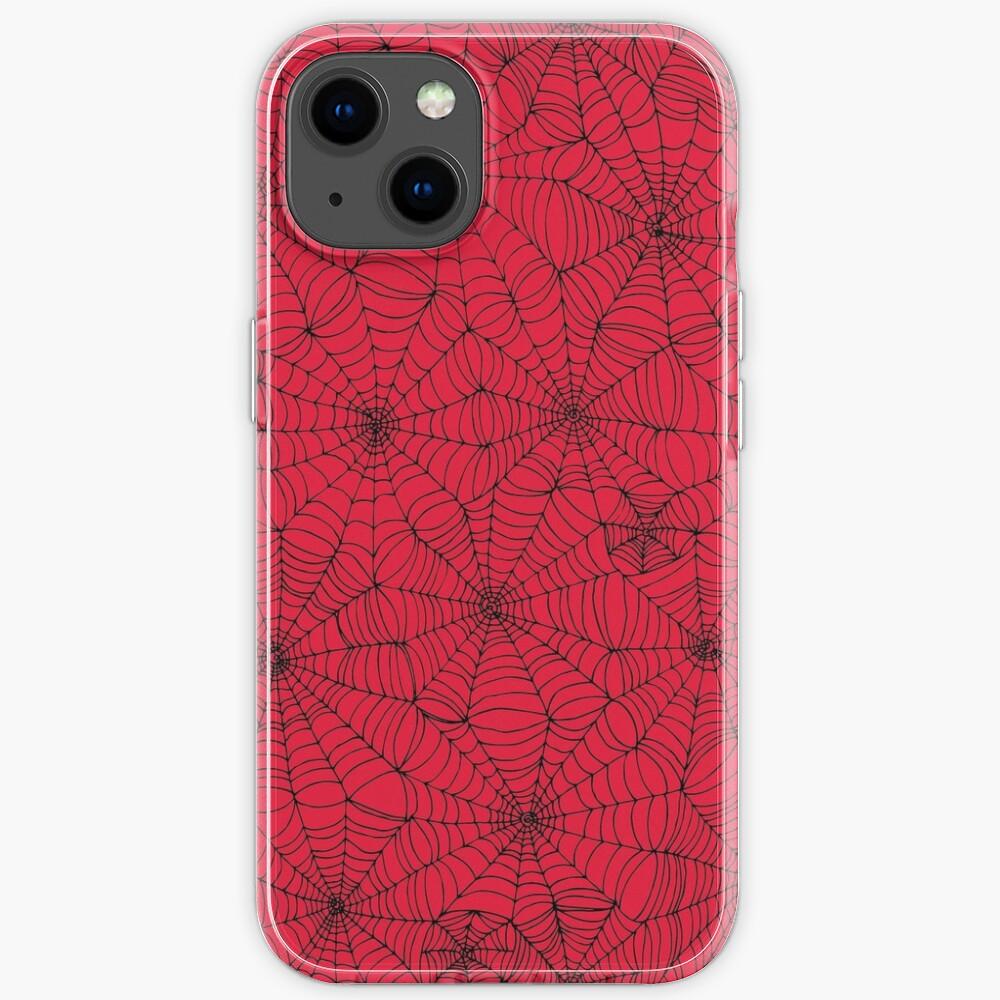 Spider Web pattern - black on Red - Spiderweb pattern by Cecca Designs iPhone Case