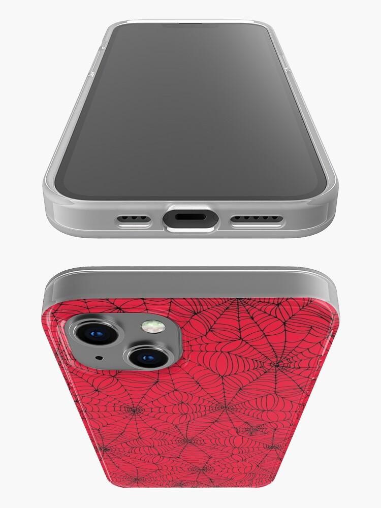 Alternate view of Spider Web pattern - black on Red - Spiderweb pattern by Cecca Designs iPhone Case