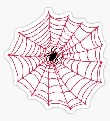 Spider Web pattern - black on Red - Spiderweb pattern by Cecca Designs Sticker