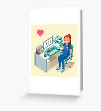 Nurse or Female Doctor Cartoon Isometric Greeting Card