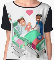 Nurse with Baby Doctor or Nurse Patient Isometric People Women's Chiffon Top