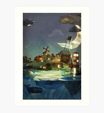 Fantasy Island at Nightime Art Print