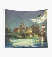 Fantasy Island at Nightime Wall Tapestry