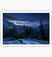 valley with river in foggy forest at night Sticker