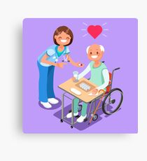 Nurse with Patient in Hospital Isometric People Cartoon Canvas Print