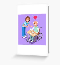 Nurse with Patient in Hospital Isometric People Cartoon Greeting Card