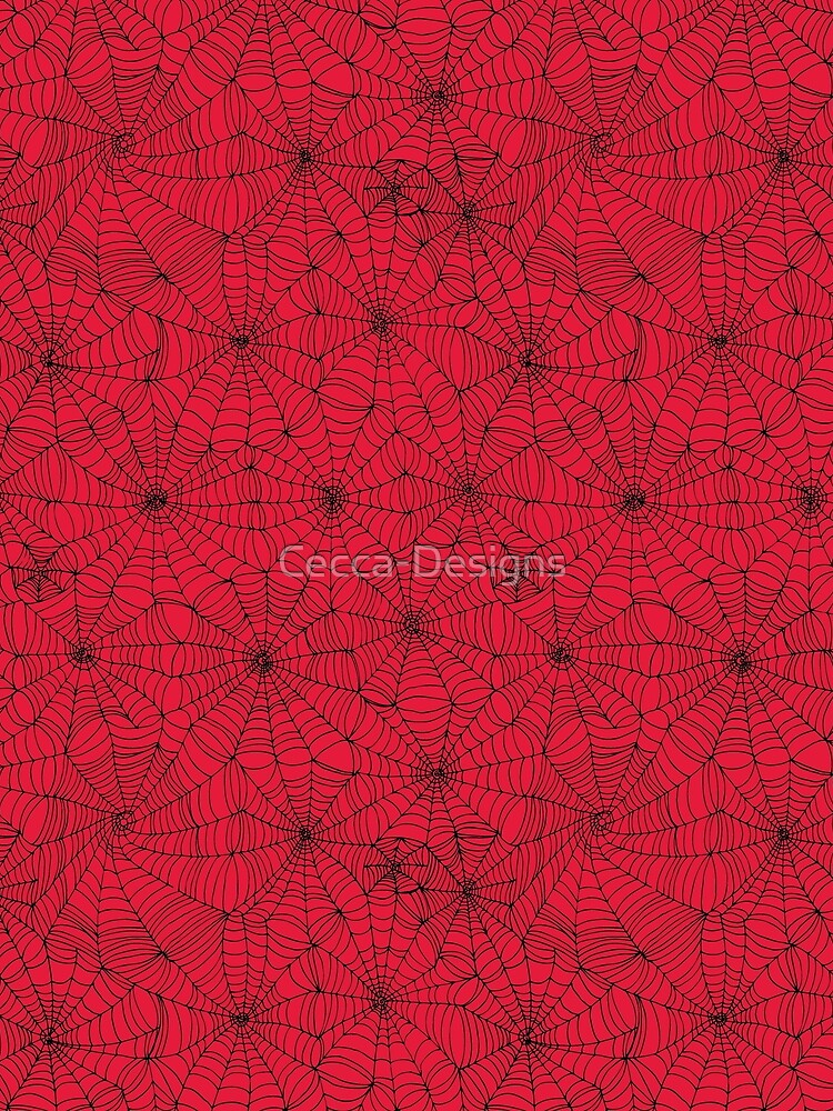 Spider Web pattern - black on Red - Spiderweb pattern by Cecca Designs by Cecca-Designs