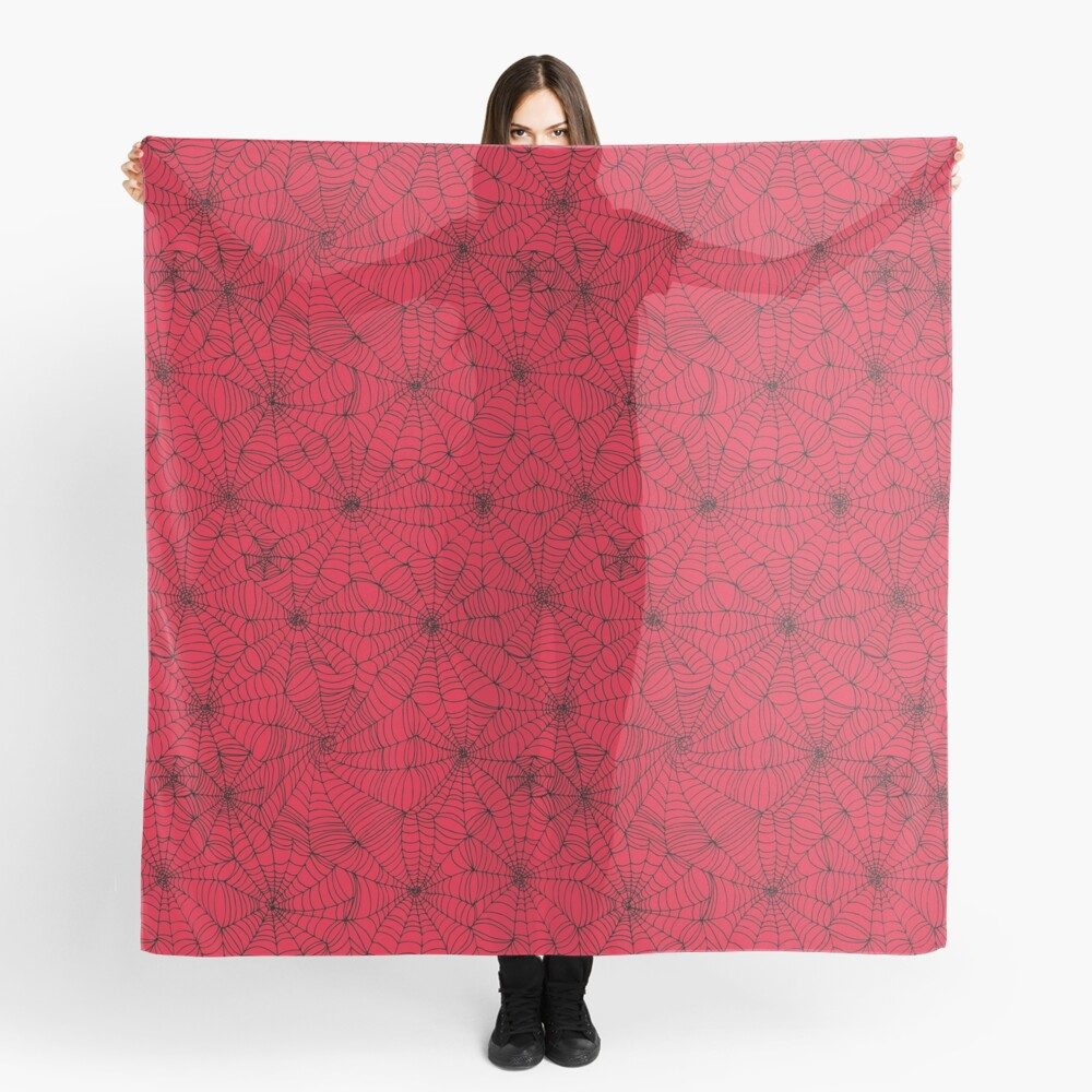 Spider Web pattern - black on Red - Spiderweb pattern by Cecca Designs Scarf