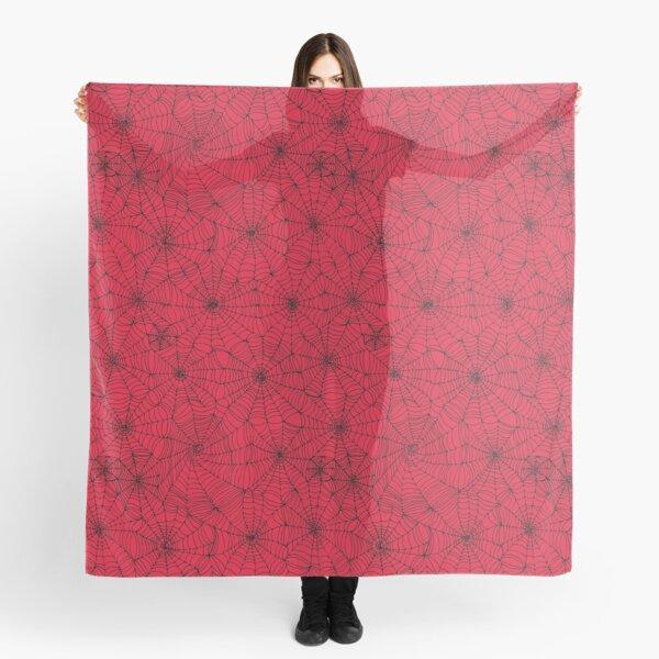 Spider Web pattern - black on Red - Spiderweb pattern by Cecca Designs Scarf