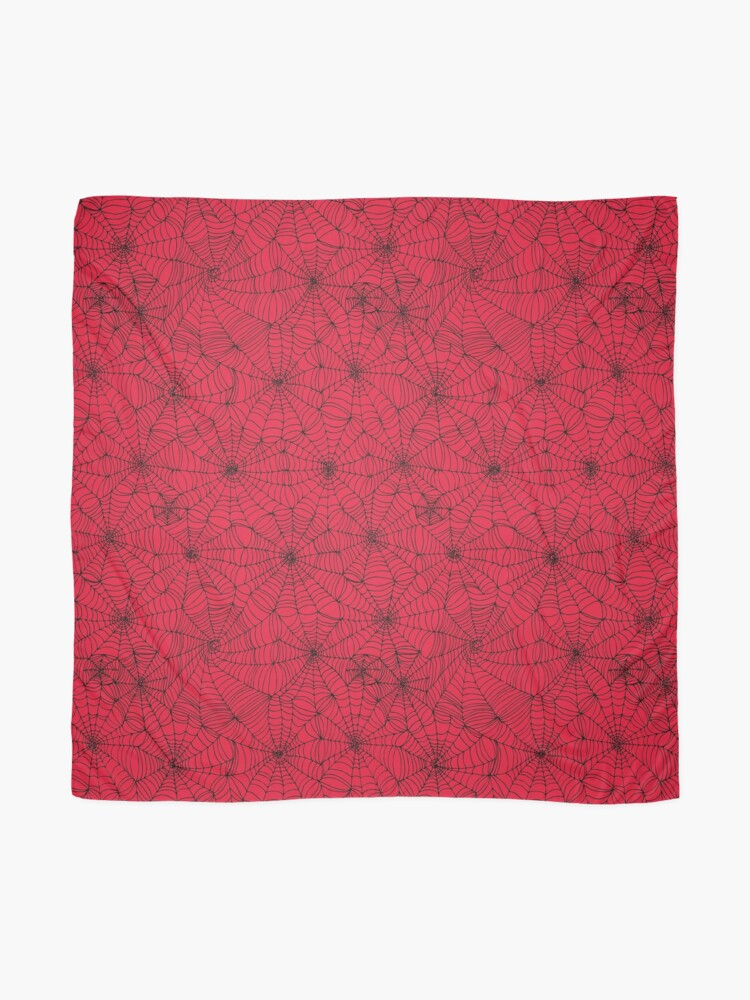 Alternate view of Spider Web pattern - black on Red - Spiderweb pattern by Cecca Designs Scarf