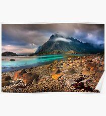 Mountain Scene, Henningsvaer, Lofoten Islands. Norway. Poster