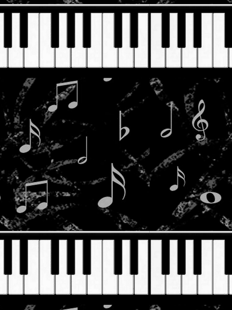 Black and White Piano Music Pattern by HavenDesign