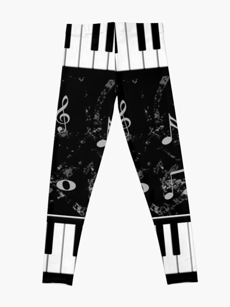 Alternate view of Black and White Piano Music Pattern Leggings