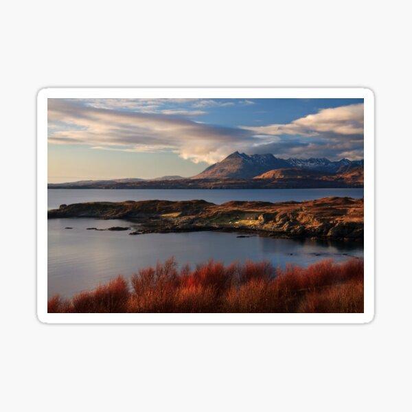 Cuillin Mountains from Tarskavaig Isle of Skye Scotland. Sticker