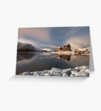 Eilean Donan Castle in Winter, Loch Duich, Scotland. Greeting Card