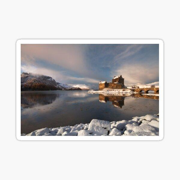 Eilean Donan Castle Winter Scene Loch Duich Scotland. Sticker