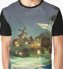 Fantasy Island at Nightime Graphic T-Shirt