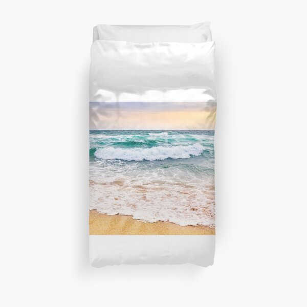 sea ​​waves crashing on sandy beach Duvet Cover