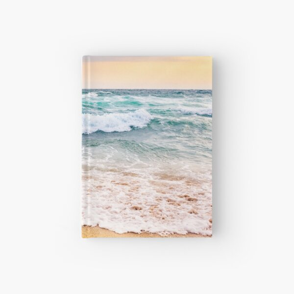 sea ​​waves crashing on sandy beach Hardcover Journal