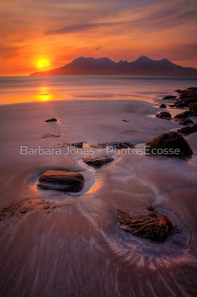 Sunset over the Isle of Rum. Laig Beach. Isle of Eigg. Small Isles. Western Scotland. by PhotosEcosse