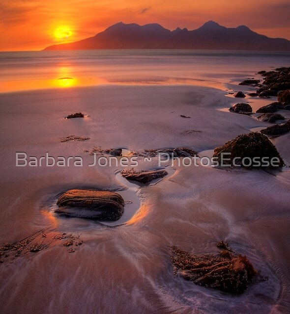 Sunset over the Isle of Rum. Laig Beach. Isle of Eigg. Small Isles. Western Scotland. by Barbara  Jones ~ PhotosEcosse