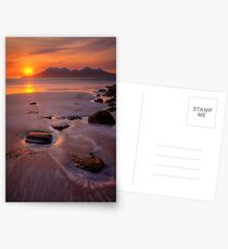 Sunset over the Isle of Rum. Laig Beach. Isle of Eigg. Small Isles. Western Scotland. Postcards