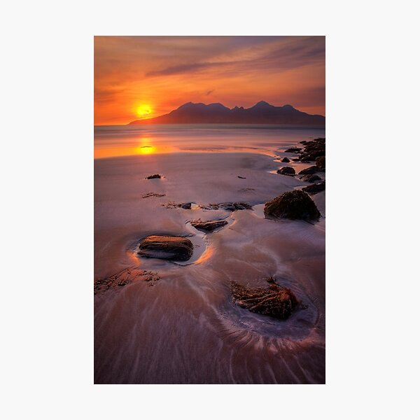 Sunset over Rum from Isle of Eigg Small Isles Scotland. Photographic Print