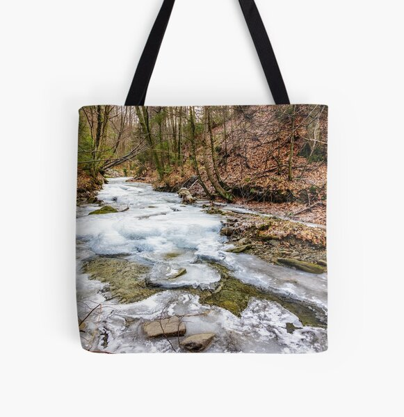 frozen river in forest All Over Print Tote Bag