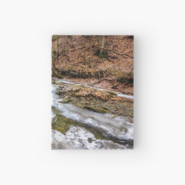 frozen river in forest Hardcover Journal